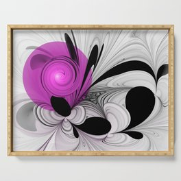 Abstract Black and White with Pink Serving Tray