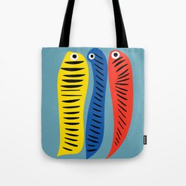 Fishes Red Blue and Yellow illustration for Kids Tote Bag