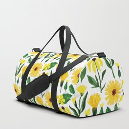 Watercolor sunshine yellow green daisies floral Duffle Bag