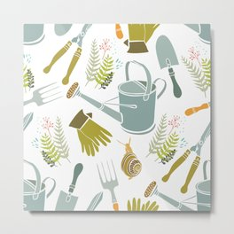Spring background, gardening tools and snails Metal Print