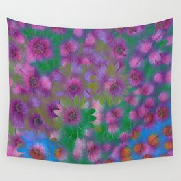 Girl Power Posies of Pink, Blue and Purple Wall Tapestry