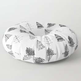 Trees Pattern Black and White Floor Pillow