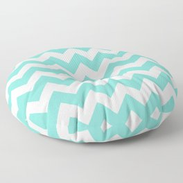 Chevrons White & Aqua Floor Pillow