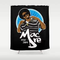 mac Shower Curtains featuring Andre 'Mac Dre' Hicks by Chad Trutt