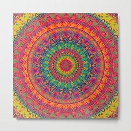 Mandala 374 (Neon) Metal Print