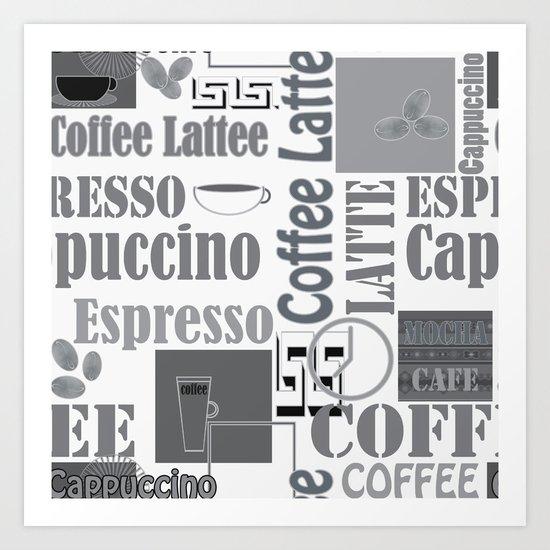"Black and white pattern. ""Favourite coffee "" Art Print"