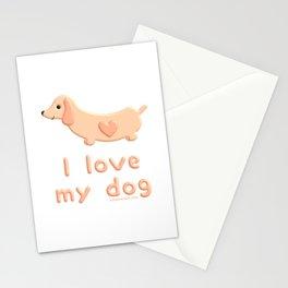 I love my Dachshund dog Stationery Cards