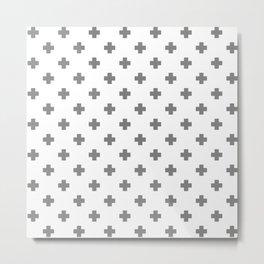 Light Grey Swiss Cross Pattern Metal Print