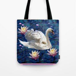 Swans & Peach Water Lilies Art Tote Bag