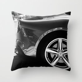 Super Car // Sexy Wheel Base Low Rims Dark Charcol Gray Black and White Throw Pillow