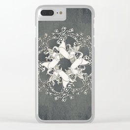 Celtic or Viking Deer Pattern - Siver Grey White Clear iPhone Case