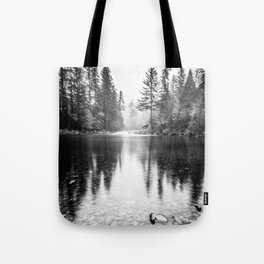 Forest Reflection Lake - Black and White  - Nature Photography Tote Bag