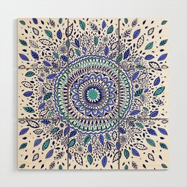 Indigo Flowered Mandala Wood Wall Art