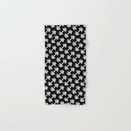 Dumbbellicious inverted / Black and white dumbbell pattern Hand & Bath Towel