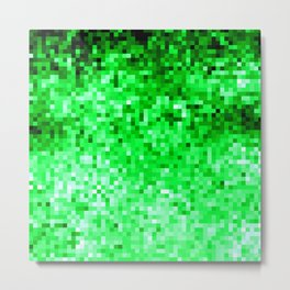Grass Green Pixels Metal Print