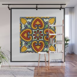 Talavera Mexican tile inspired bold design in green, gold, red and blue Wall Mural