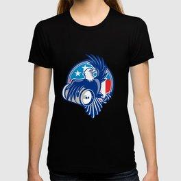 American Bald Eagle Beer Keg Flag Circle Retro T-shirt