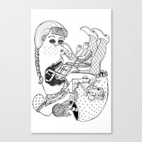 knitting Canvas Prints featuring Knitting by The Pearly Owl