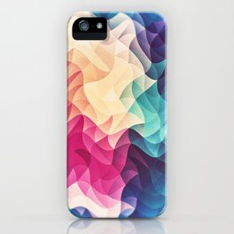 Geometry Triangle Wave Multicolor Mosaic Pattern - (HDR - Low Poly Art) iPhone Case