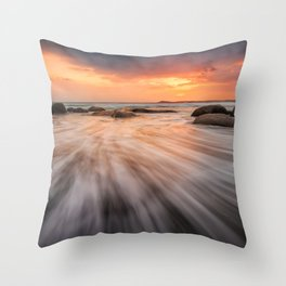 Beach in Scotland at sunset in long exposure - Seascape photography Throw Pillow
