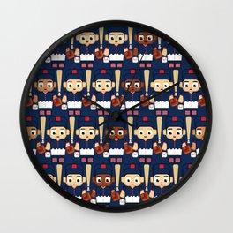 Baseball Navy, Red and White - Super cute sports stars Wall Clock