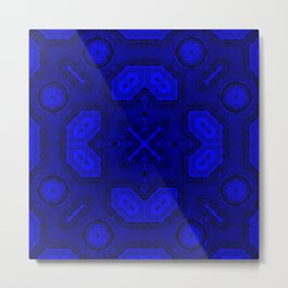Victorian Art Deco Medieval Pattern bright blue SB26/3 Metal Print