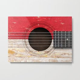 Old Vintage Acoustic Guitar with Indonesian Flag Metal Print