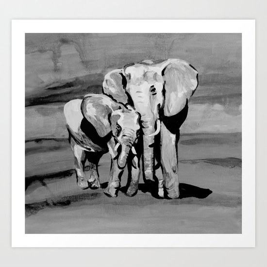 Black and white mother and baby elephant Art Print