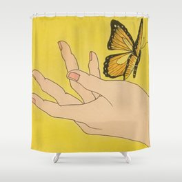 Butterfly on hand Shower Curtain