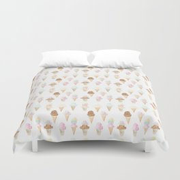 Watercolor Ice Cream Cones Duvet Cover
