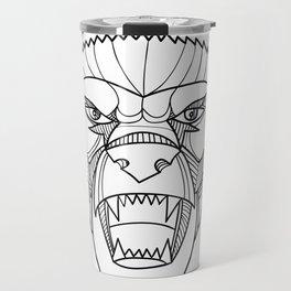Honey Badger Head Monoline Travel Mug