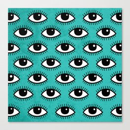 Eyes pattern on blue background Canvas Print