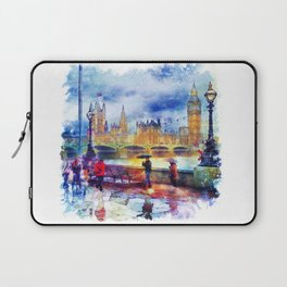 London Rain watercolor Laptop Sleeve
