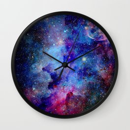 Blue Glitter Galaxy Wall Clock