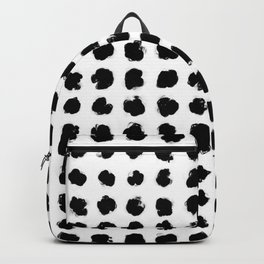 Black and White Minimal Minimalistic Polka Dots Brush Strokes Painting Backpack
