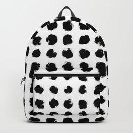 Black and White Minimal Minimalistic Polka Dots Brush Strokes Painting Backpack