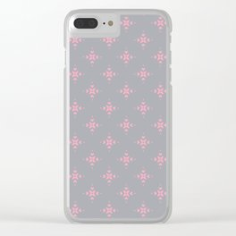 Ornamental Pattern with Grey and Pink Colourway Clear iPhone Case