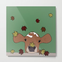 Bessie the Calf and Fall Leaves Metal Print