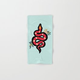 Red & Teal Colored Snake and Foliage Design Hand & Bath Towel