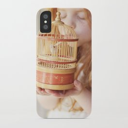 A girl and her bird iPhone Case
