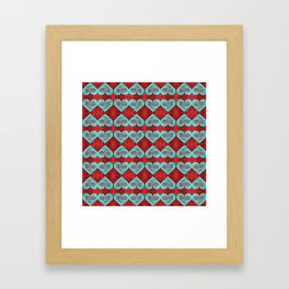 Abstract Turquoise and Bright Red Diamond Hearts Framed Art Print