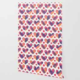 Hearts, tropics and polka dot Wallpaper