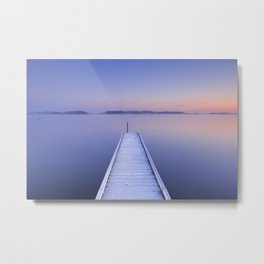 Jetty on a still lake in winter in The Netherlands Metal Print