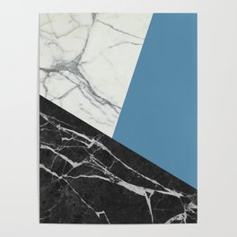 Black and White Marble with Pantone Niagara Poster