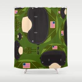 Cartoon Air Force Fighter Pilot Pattern Shower Curtain
