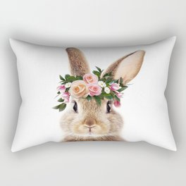 Baby Rabbit, Brown Bunny With Flower Crown, Baby Animals Art Print By Synplus Rectangular Pillow