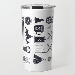 Bushcraft Icons and Hiking Symbols Travel Mug