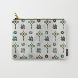 Gold and Abalone Shell Lucky Chinese Symbols  Pattern Carry-All Pouch