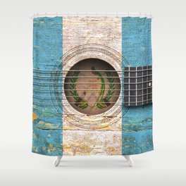 Old Vintage Acoustic Guitar with Guatemalan Flag Shower Curtain