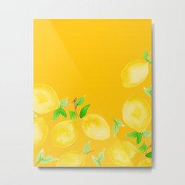 Lemons on Mustard Yellow Metal Print